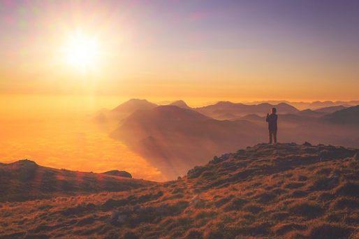 Zon, berg, heuvels, uitzicht