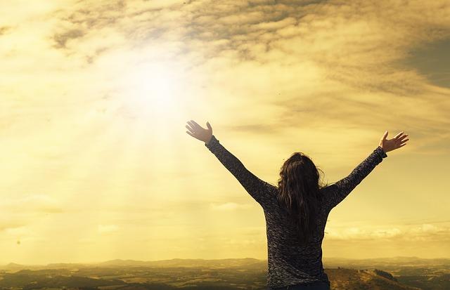 aanbidding, worship, handen, hemel, landschap